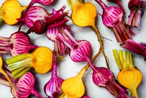 Roasted golden Baby beets with whole caramelised garlic cloves